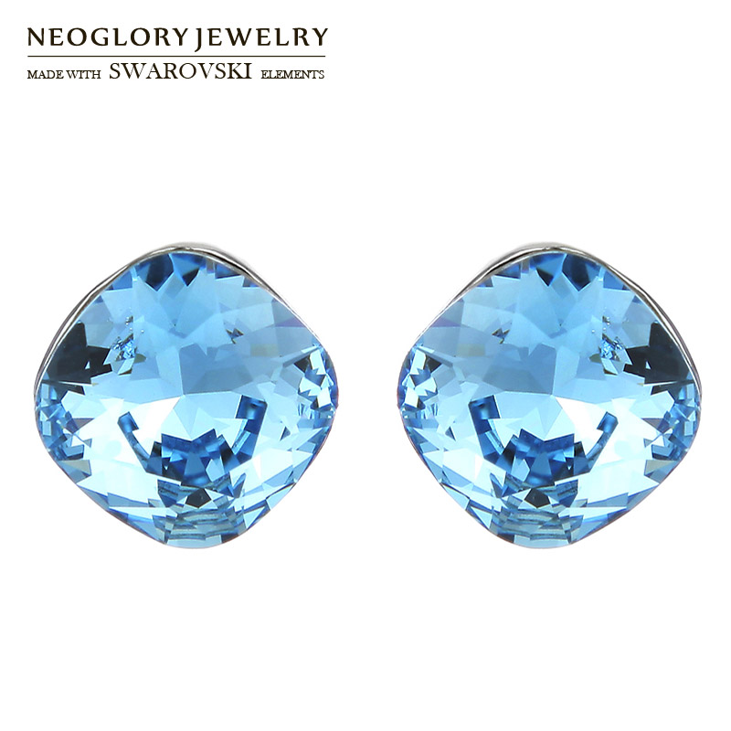 Neoglory Austria Crystal Stud Earrings Simple Round Design S925 Silver Plated Needle Alloy Plated Brand Sale Women Gift rigant gold plated zinc alloy rhinestones stud earrings for women golden pair