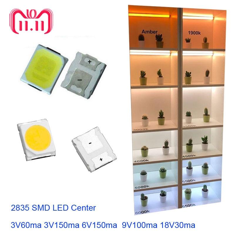 Full Voltage High Brightness 2835 SMD LED Chip 1W 100PCS 18V 9V 6V 3V White LED Fast Delivery Via Al