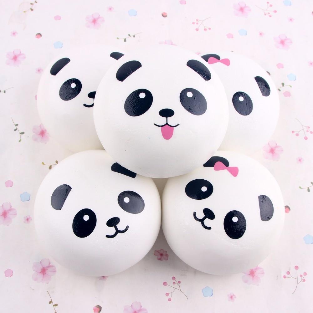 10 cm Lucu Kartun Jumbo Gemuk Hitam Putih Panda Panda Empuk Roti Telepon Liontin Lembut Kepala