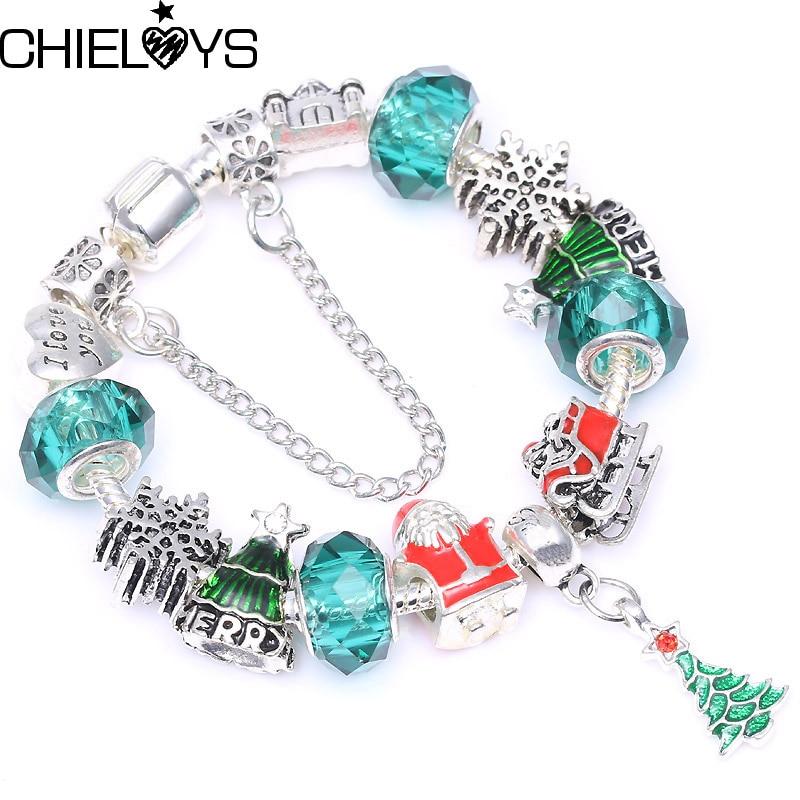 CHIELOYS European Original Bracelet Green Glass Beads With Christmas Tree Pendant Charm Bracelet Jewelry Fine Christmas Gift bead