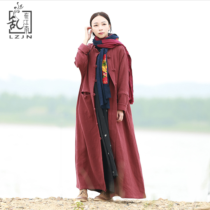 Spring Long Trench Coat Autumn Women Cardigan Long Sleeve Chinese Windbreaker Loose Duster Coat All Match Female Overcoat