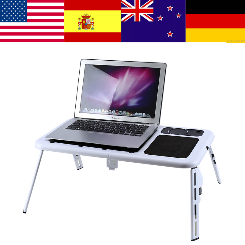 Adjustable Laptop Desk Foldable Table E-Table Bed With USB Cooling Fans Stand Falttisch Bed Laptop Table Escritorio Portatil(China)