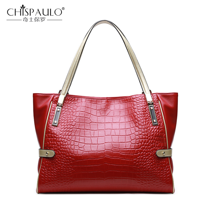 Genuine Leather Women Bags Crocodile Pattern Ladies Handbags High Quality Natural Leather Shoulder Bag Female Casual Tote soar women leather handbags large women bag shoulder bags ladies brand alligator crocodile pattern hand bags tote female blosa 3