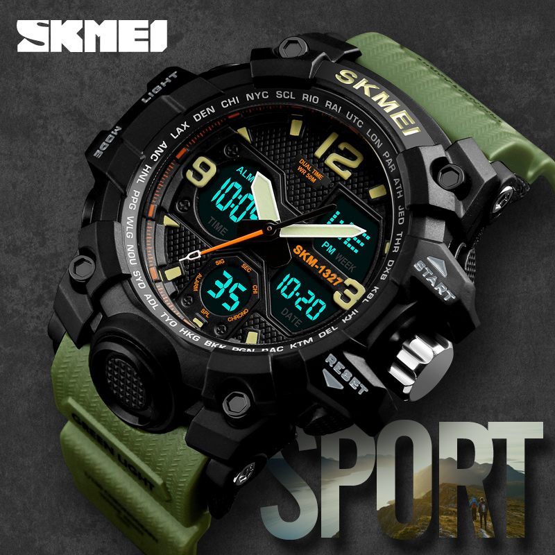 New SKMEI Brand Mens Digital Watches Military Waterproof Sport Watch For Men Dual Analog 12/24 Hour Clock Men Fashion Wristwatch skmei skmei big dial dual time display sport digital watch men chronograph analog led electronic wristwatch s shock clock