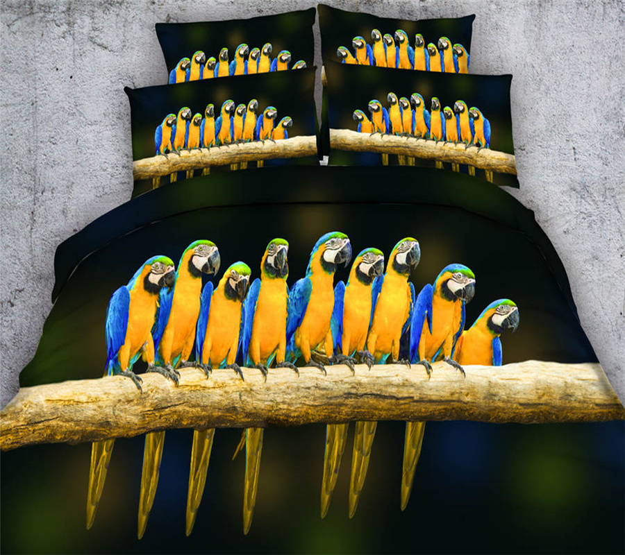 Impression 3D vive colorée perroquet oiseaux ensembles de literie noir housse de couette unique reine roi tailles filles 3/4 pièce 500TC taie d'oreiller