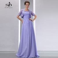 Long Evening Dresses With Jacket 2018 Lavender Elegant Chiffon Dress Formal Woman Party Dress New Arrival