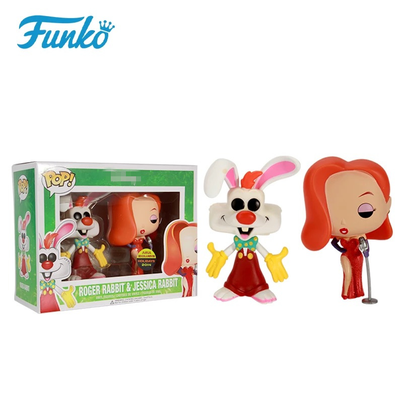 Exclusive Funko pop Roger Rabbit & Jessica Rabbit 2 pack Vinyl Figures Collectible Model Toy with Original Box limited edition original funko pop dc universe green lantern the arrow vinyl figure collectible model toy with original box