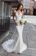 Sexy Beach Wedding Dresses Mermaid Backless White/Ivory Lace Tulle Bridal Gowns Custom
