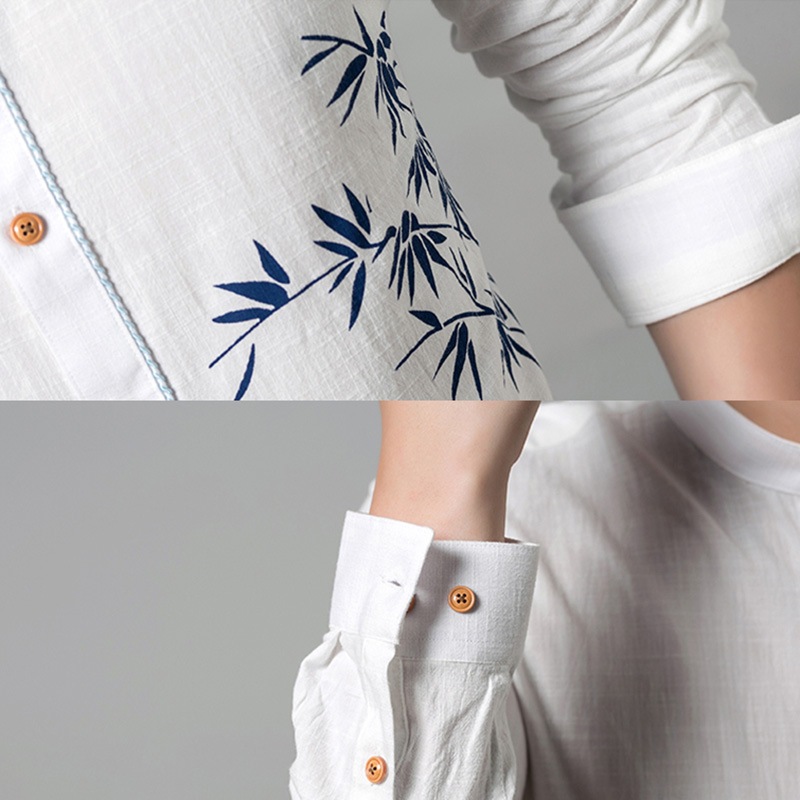 4db9880b548 GUEQI Blue Bamboo Leaves Printed Men Shirts Plus Size M 4XL Linen Fabric  Tops 2018 New Model Adult Man Breathable Pink Shirts-in Casual Shirts from  Men s ...