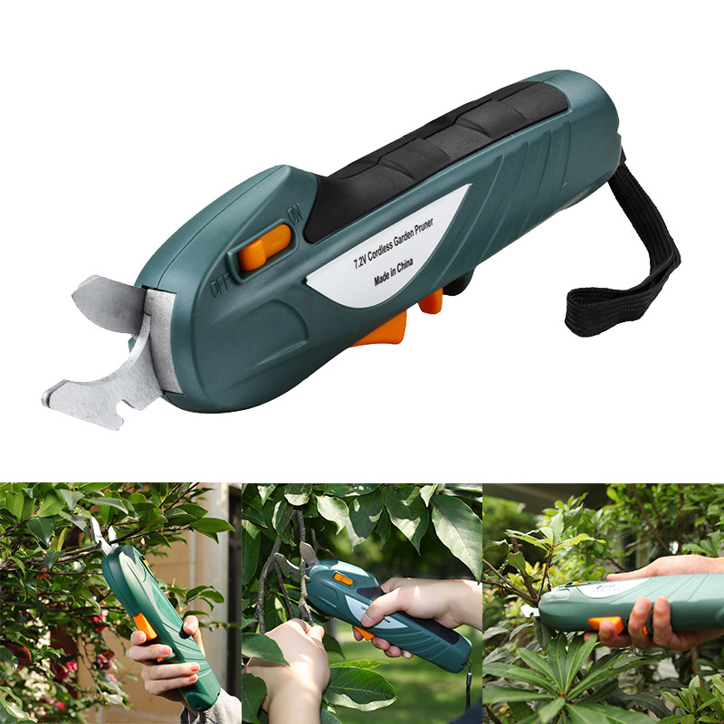 Newest 7 2V Electric Pruning Scissors Rechargeable Shear Gardening Orchard Branches Cutting Tool