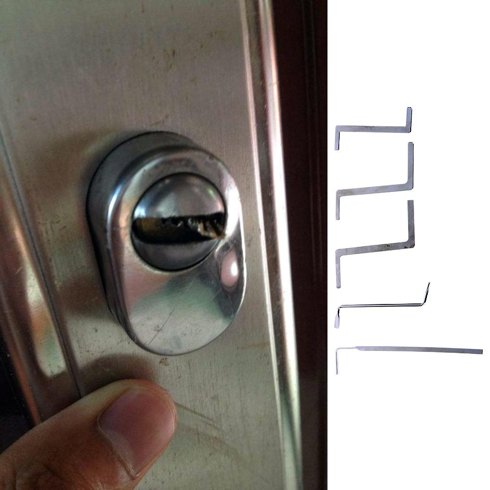 5 db / készlet Lakatos Lockpick Lock Pick Set Hardver rozsdamentes - Kézi szerszámok - Fénykép 4