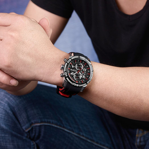 Image 5 - Megir Chronograaf Sport Mannen Horloge Creatieve Siliconen Militaire Horloges Klok Mannen Relogio Masculino Quartz Horloge Uur