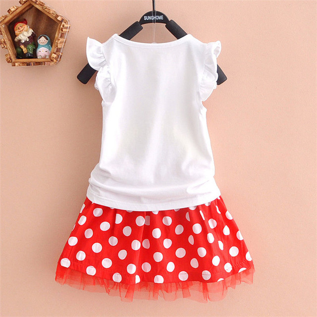 New 2019 T-shirt + skirt baby child suit 2 pieces fashion girls clothing sets Minnie children's clothes bowknot shirt dress 2-10