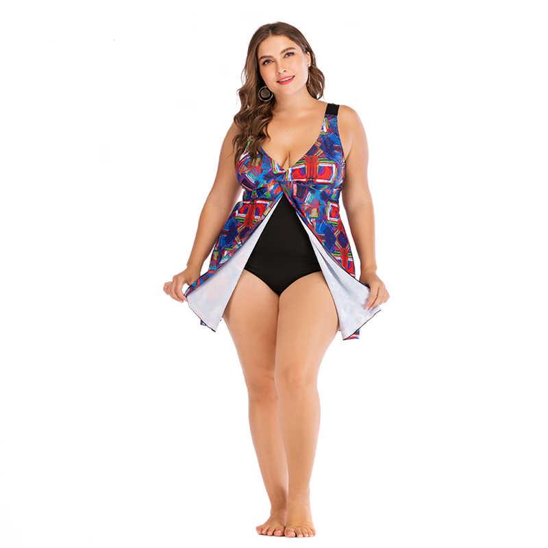 Rhyme леди большой размер купальники для женщин сексуальный большой бюст купальник женский Принт пляжное платье купальный костюм L-5XL купальный костюм