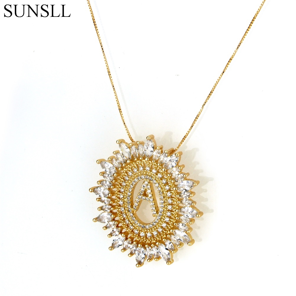 SUNSLL Golden Color Copper White Cubic Zirconia Letter Pendant Necklaces Womens Fashion Jewelry CZ Colar Feminina ...