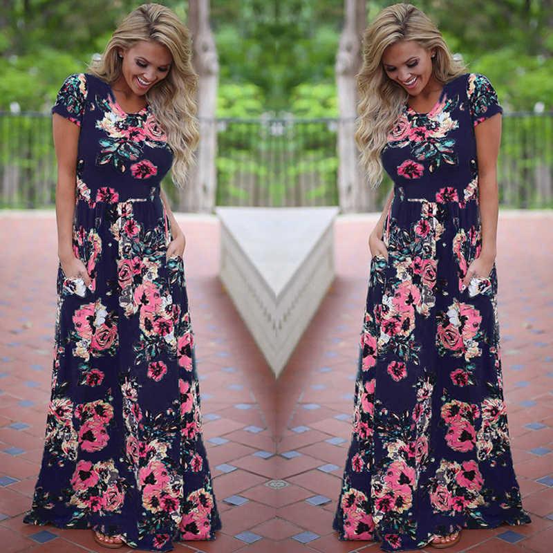 夏マキシドレスの女性 2019 ピンク花柄自由奔放に生きる女性イブニングパーティーロングドレスサンドレス Vestidos デ · フェスタ 3XL