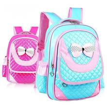 CoolBaby Lovely Princess Fashion School Bags 1-3-6 Grade Bowknot Children Mochila Lightweight Girl PU Book bag Backpack K521(China)