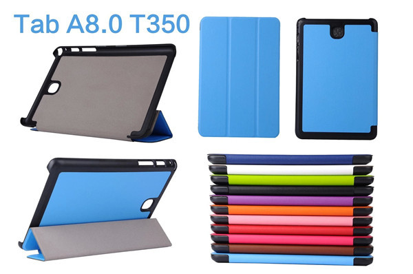 For Samsung Galaxy Tab A 8.0 Folding Karst Pattern PU Leather+Plastic Shell Stand Cover Case For Samsung Galaxy Tab A 8.0 T350