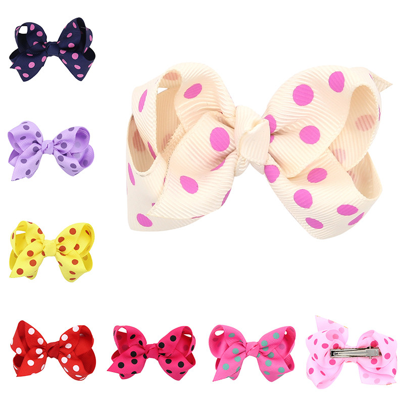 3'' baby girls Hair Ribbon Bows dot Hair Clips Baby Boutique Girls big Bow dots candy color hairpins Girls' Hair Accessories new women girls dot hair accessories candy color double ball hairpins cute baby kids hair clip ribbon dot barrettes
