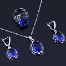 Classy Oval Egg Blue Cubic Zirconia 925 Sterling Silver Jewelry Sets For Women Earrings Pendant Chain Ring V0276