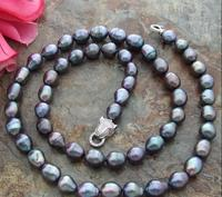34 10x13 mm Black Rice Freshwater Pearl Necklace
