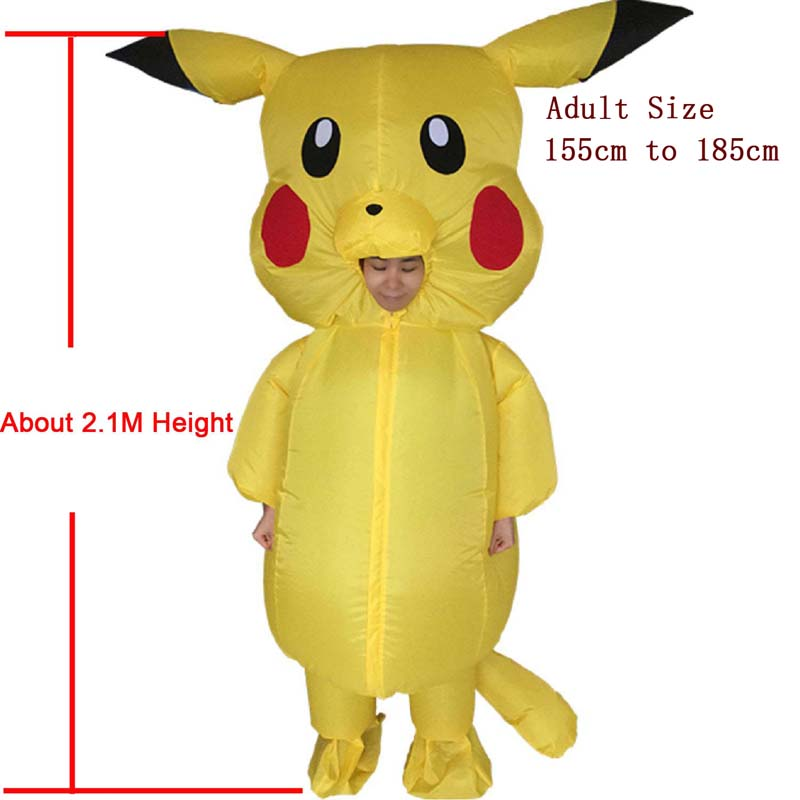 Pekmon Inflatable Costume For Men Inflatable Pikachu Yellow For Adult FANCY DRESS COSTUME Jump Suit OUTFIT cosplay Costume