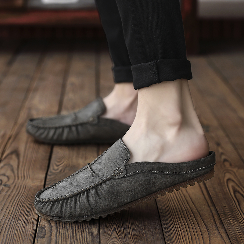 Classic Designer Sneakers Men Black Slip On Men Pu Leather Footwear Half Drag Men Shoes Rubber Bottom Men Youth Casual Shoes in Men 39 s Casual Shoes from Shoes