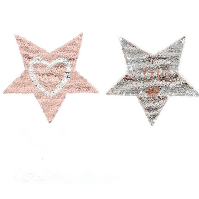 Girls clothes Diy patch deal with it 19cm star heart love flip the double sided sequins patches for clothing fashion stickers