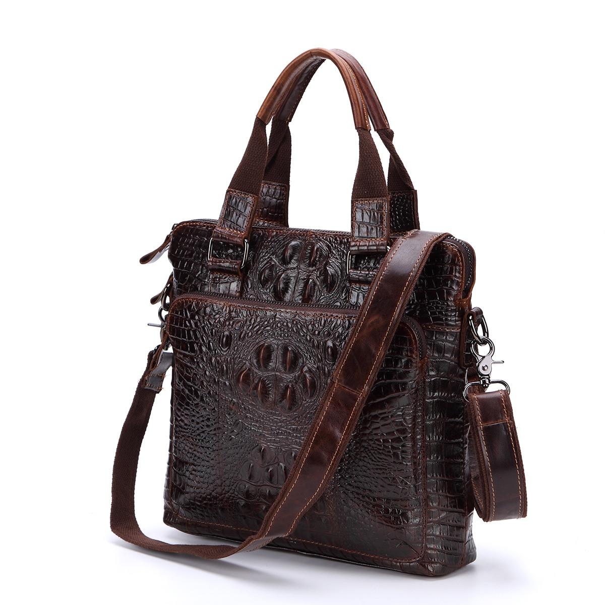 Leather men's bag Men's business vertical leather crocodile pattern handbag oil wax layer leather shoulder Messenger bag