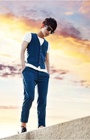 2016 새로운 도착 비즈니스 Metrosexual 양복 캐주얼 남자 조끼 남자 바지 슬림 한국어 동창회 세트 도매