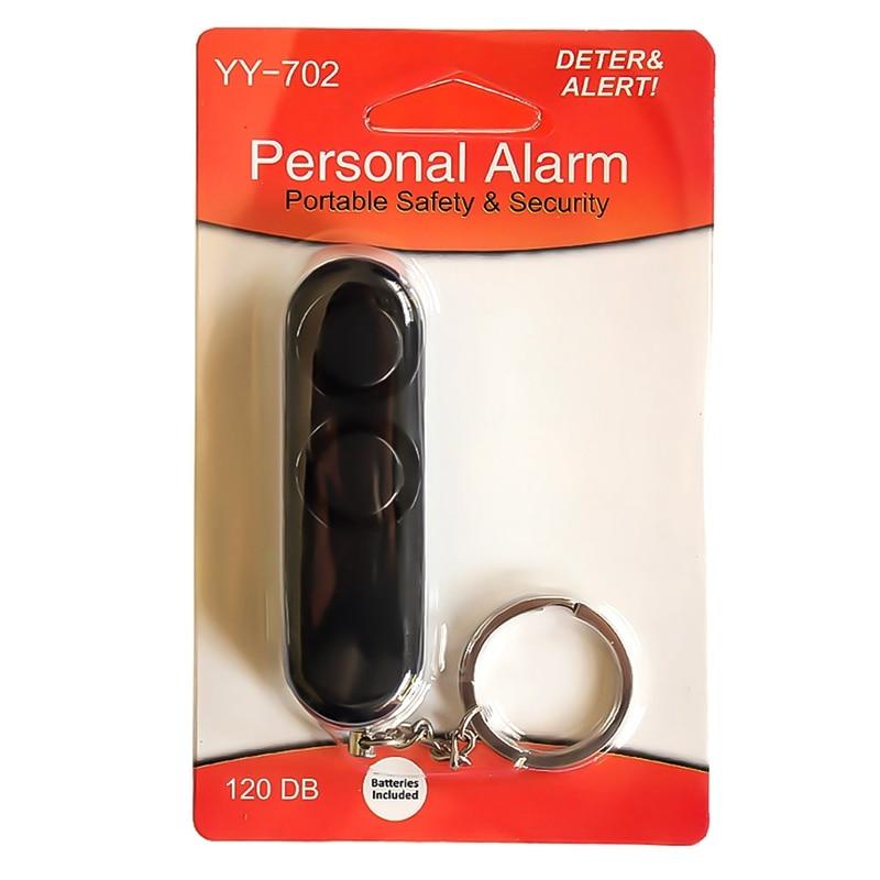1 Pcs Plastic Personal Alarm Two Speakers Mini Personal Security Alarm System Keychain 130Db Personal Alarm