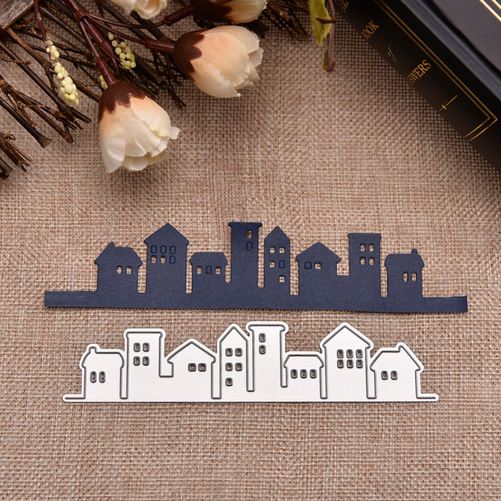 Hemere 131*29mm City Houses Metal Cutting Dies Stencils for DIY Scrapbooking Photo Album Embossing Paper Cards Decorative Crafts