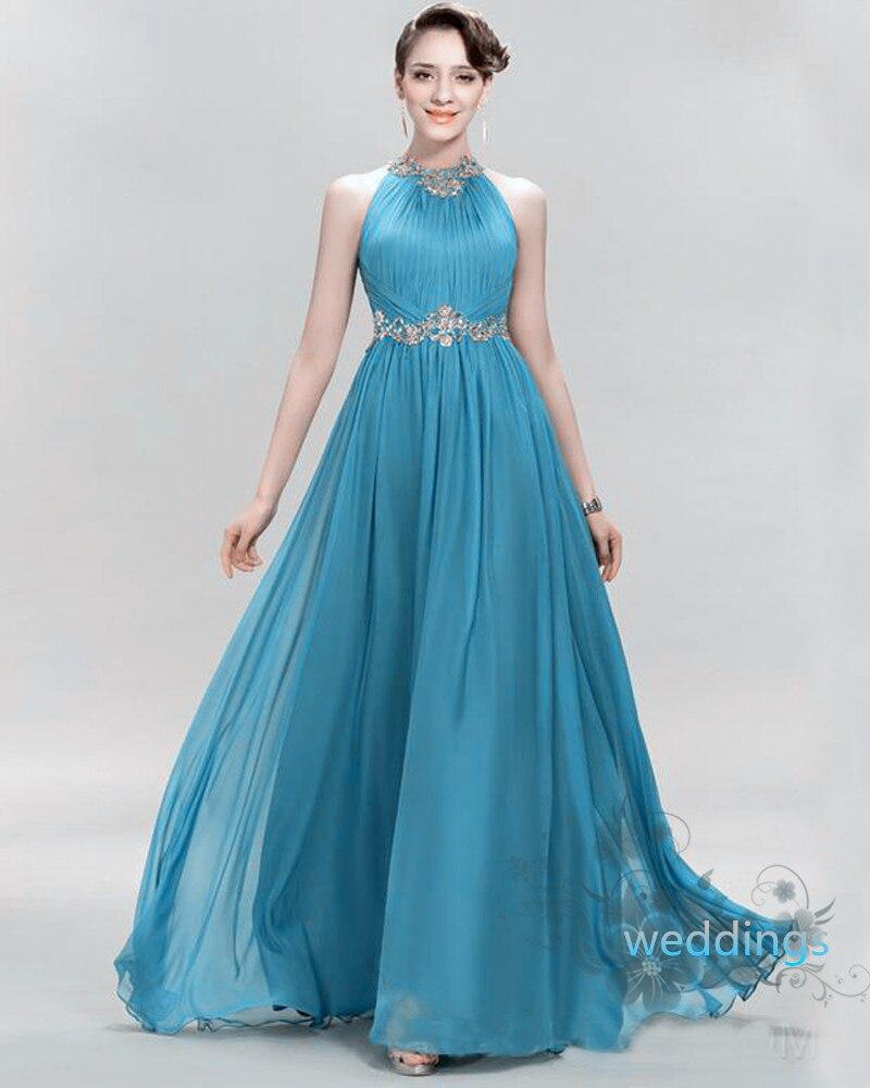 Pretty Jewel Bridesmaid Dresses Halter Chiffon Sleeveless Elegant ...