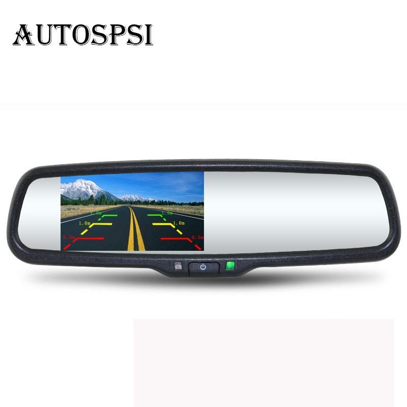 AUTOSPSI 4.3 TFT LCD Car Rear View Bracket Mirror Monitor Parking Assistance With 2 RCA Video Player Input new waterproof ip camera 720p cctv security dome camera video capture surveillance hd onvif cctv infrared ir camera outdoor