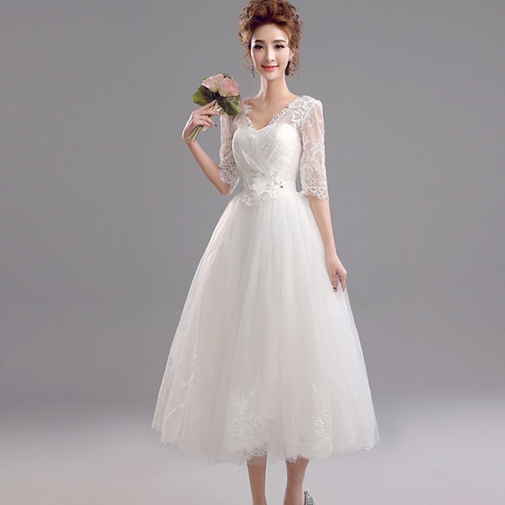 Abendkleider Romantic Summer Plus Size Lace Short Wedding Dresses Vestidos De Noiva 2016 Vintage