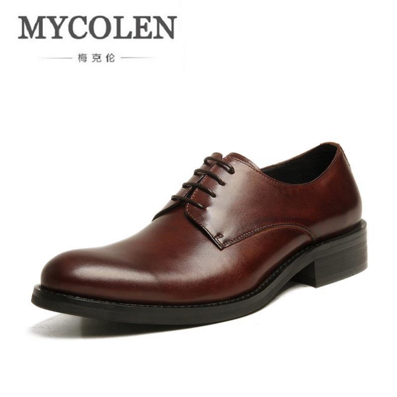 Mycolen Dedo Redondo Negócios Novo Apartamentos Sapato Casamento Derby Do Sapatos Vestido Genuíno Couro Masculino marrom De Preto 2018 Formais Homens Pé PXPAx6qwnr