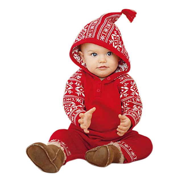 Fashion cute Red Christmas clothes Newborn Baby Girls Boy Christmas Hooded  Printing Romper Jumpsuit Pajamas Outfits winter warm - Fashion Cute Red Christmas Clothes Newborn Baby Girls Boy Christmas