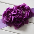 Fashion Burn flower sash belt women belt kids girl sash belt Wedding sash Belt Purple 1pcs