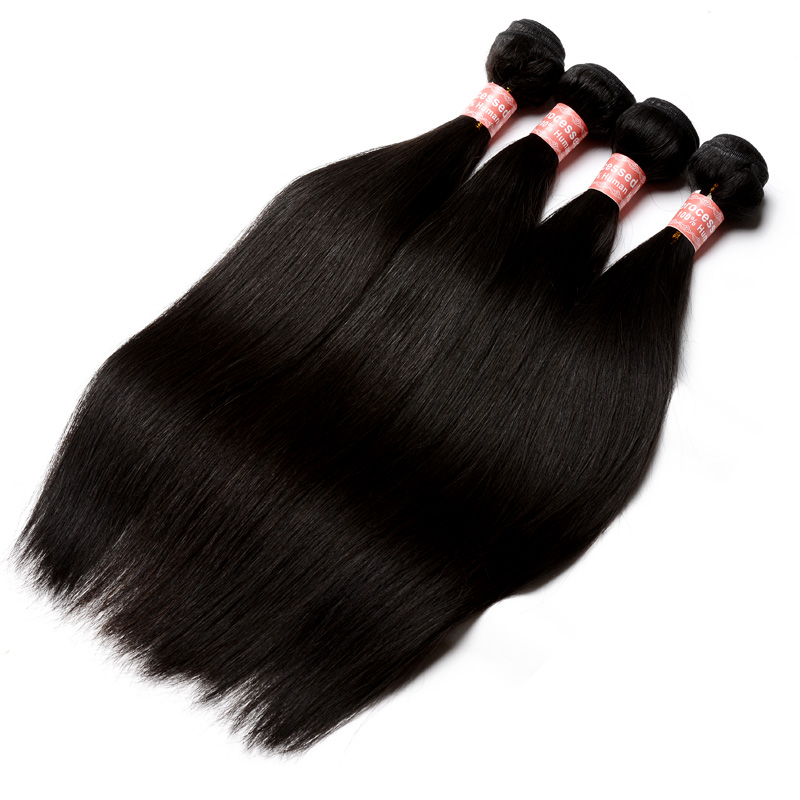Straight Wave Lace Frontal Closure With Bundles Brazilian Hair Weave Bundles With Frontal Pre Plucked 4 Pcs Cara Products Remy