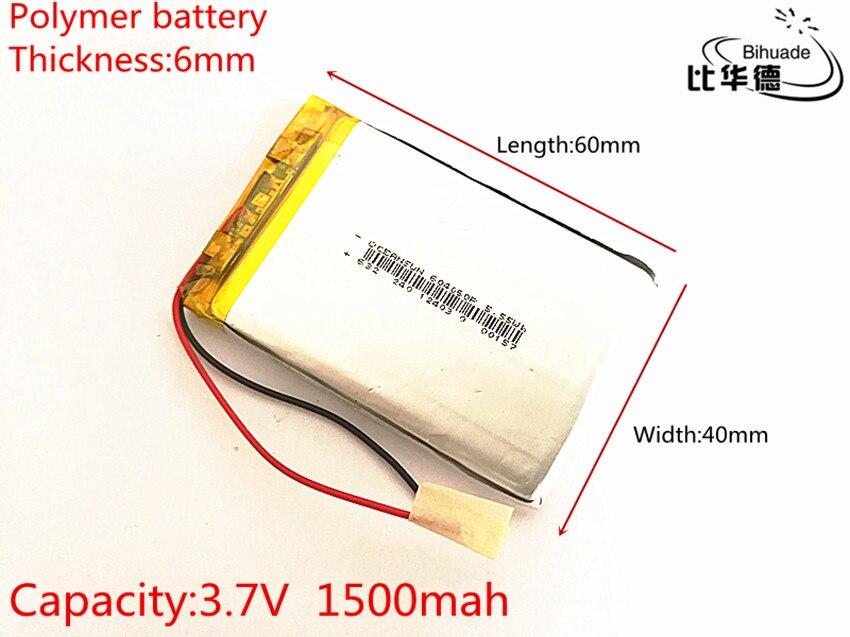 10 шт./лот 3,7 в 1500 мАч 604060 литий-полимерный Li-Po Li ion Перезаряжаемые Батарея клетки для Mp3 MP4 MP5 gps Оборудование для psp