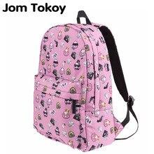 Jom токойское женщин Холст Рюкзак свинья Gang emoji печать девушки школы backbag для подростков сумка Mochila Feminina