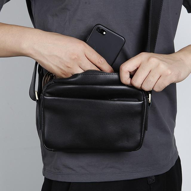 d317371b3152 LANSPACE men s leather shoulder bag genuine leather small bag men s  messenger bag
