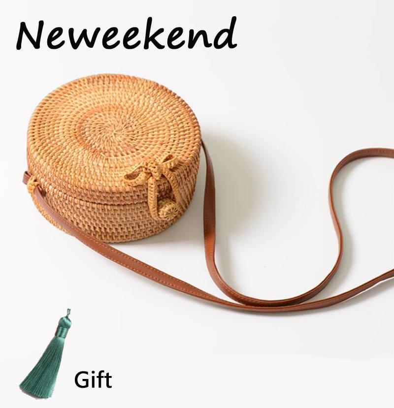 Straw Bags circle Rattan Bag round tassel Beach bag Women Small Bohemian Bali Handbag Summer Handmade Crossbody leather shoulder