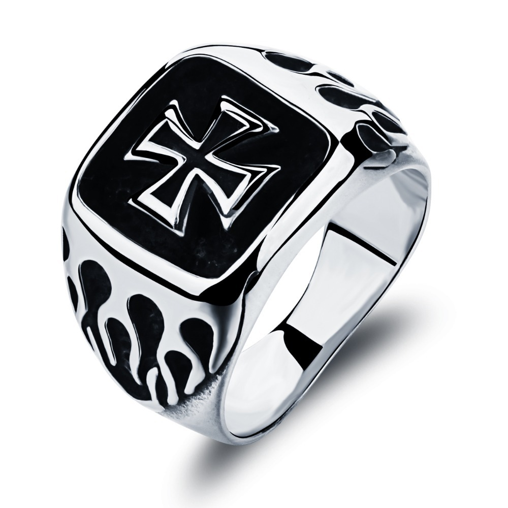 Punk Mens Silver Plated Black Rings Top Quality 316L Stainless Steel Biker Ring Men Jewelry Halloween gifts anel masculino цена