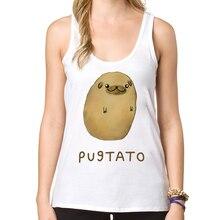 2016 Fashion Pug Potato Design Women Tank tops Funny Pugtato  Printed Lady Summer Casual Vest