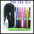 10pcs/lot eGo CE4 Kits E Cig 1100mah eGo T Battery CE4 vaporizer in a Zipper Case electronic cigarette starter kit free shipping