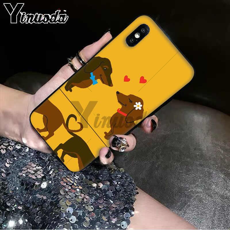 Yinuoda ダックスフントシルエット犬ソフトシリコンケース黒電話ケース iphone 8 7 6 6S プラス 5 5S SE XR X XS 最大 11 11pro 11promax