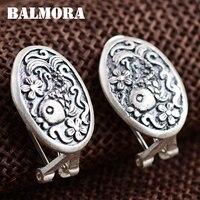 BALMORA 990 Pure Silver Fish Flower Clip Earrings For Women Lover Gift Retro Earrings Thai Silver