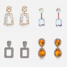 Ztech ZA Crystal Drop Earrings for Women Geometric Rhinestone Big Statement Earrings Bling Wedding Bridal Trendy Jewelry Female цена
