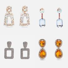 Ztech ZA Crystal Drop Earrings for Women Geometric Rhinestone Big Statement Bling Wedding Bridal Trendy Jewelry Female